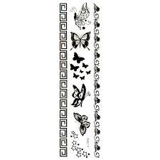 Tetování Tělové Dočasné černé Pásky Motýlci Hvězdičky Chm279