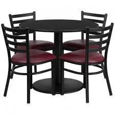 seymour round 36 black laminate bar pub table set w 4 ladder back
