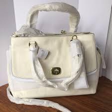 Authentic coach large leather triple zip satchel