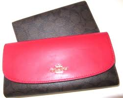 Coach F57319 57319 Signature PVC Checkbook Wallet Large Clutch Brown True  Red