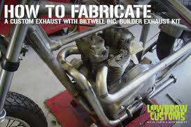 fabricating a custom built exhaust with a biltwell builder s exhaust kit lowbrow customs blog