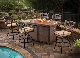 gorgeous bar height patio furniture sets balm table pertaining to fire pit dining set prepare 11