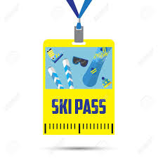 Blue Ribbon Template Ski Pass Template With Barcode Blue Ribbon Equipment For Winter