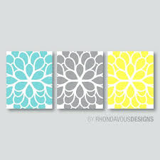 teal and yellow wall decor flower wall art teal blue yellow gray by teal and yellow bedroom decor