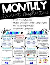 Newsletters Templates Student Created Monthly Newsletter Templates On Google Entire School Year