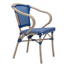 blue and white chair. ZUO Paris Metal Outdoor Patio Dining Chair In Navy Blue And White (Pack Of 2 H