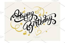 Happy Birthday Lettering Design Script Fonts Creative Market