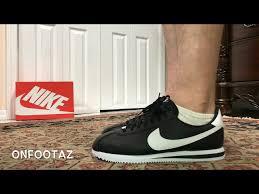 nike cortez basic leather black white on foot 01 35 3 426