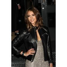 jessica alba black style black leather jacket womens leather jacket