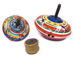 details about vintage lot 2 old lithographed tin toy spinning tops with wooden spring actuator