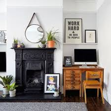 Home office living room ideas Endearing Inspiration For Midsized Scandinavian Formal And Open Concept Dark Wood Floor Living Room Houzz Home Office Corner Computer Desk Living Room Ideas Photos Houzz