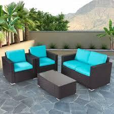 4 pc patio wicker sofa sectional