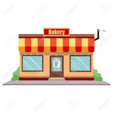 Vector Illustration Bakery Shop Front Street Local Restaurant