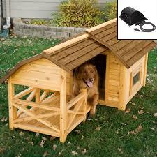 Boomer & George Darker Stain Duplex Dog House with FREE Dog Doors |  Hayneedle