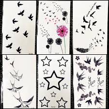 Diy черные летучие птицы временные татуировки красочные одуванчик наклейки