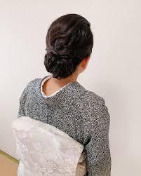 訪問着 着物 黒髪 結婚式福岡天神ヘアセット着付け専門店three
