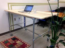 37 diy standing desks built with pipe and kee klamp simplified throughout galvanized pipe desk ideas