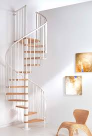 Oak70 Spiral Staircase 1300mm diameter in White with Oak Treads