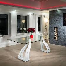 Modern Glass Kitchen Tables Modern Large 10 Seater Clear Glass White Steel Dining Table