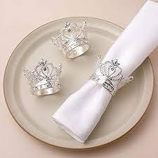 AW Silver Napkin Rings Set of 12 Crown Rhinestone ... - Amazon.com