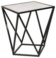 maia metal side accent table with marble top black