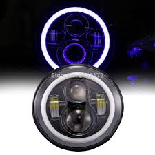Ring Beams Led Lights Us 70 84 23 Off Motorcycle Led Headlight 40w High Low Beam Led Headlights Bulb With Halo Ring Blue Turn Signal For Wrangler Jk Cj In Car Light