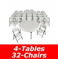 lifetime 60 round folding tables and 32 white granite chairs for