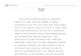 ethics and professionalism university business and  document image preview