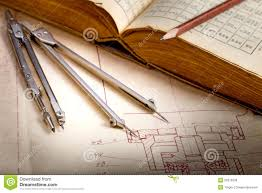 old engineering drawing and drawing instruments