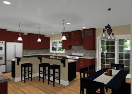 L Shaped Kitchen Design With Island And Kitchen Stencil Designs And A  Scenic Kitchen With The Presence Of Some Artistic Ornaments Arranged  Incatchy Way 39