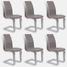 Stoff Stuhl Beige Grau Freischwinger Esszimmerstuhl
