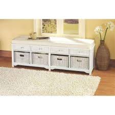 furniture for entryway. Oxford White 4Basket Storage Bench Furniture For Entryway