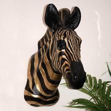 antique gold black zebra head wall