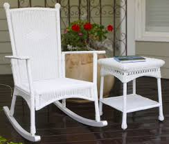 plantation coastal white wicker outdoor rocking chair with regard intended for idea 16