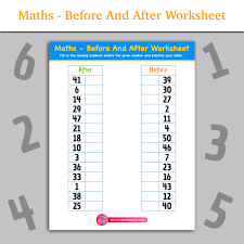 Maths - Before And After Worksheet | Inky Treasure