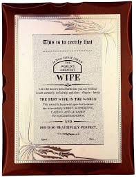 Atpata Funky Worlds Best Wife Premium Certificate Award Trophy
