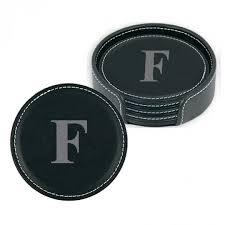 personalized black leather coasters set of 4