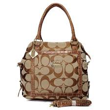 WhatSheLove Coach Logo In Signature Medium Khaki Satchels