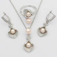 morning glory with pink pearl 925 silver bridal jewelry sets for women wedding pendant drop earrings rings necklace set turquoise jewelry whole jewelry