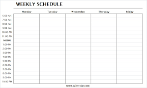Week Planner With Times Weekly Schedule Template Monday Friday With Times One Week