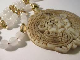 chinese white jade pendant of twin phoenix birds with white jade and crystal bead necklace