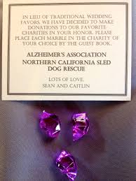wedding party favor gift donation sled dog rescue alzheimers association sound in motion entertainment group wedding bay area uplighting wedding