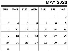 Calendar May 2020 Free May 2020 Calendar Printable Templates Pdf Excel Word