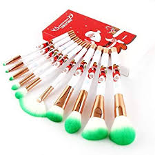 Generic 10Pcs <b>Christmas Theme Series</b> Makeup Brush Set ...