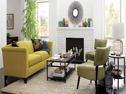 awesome small white living room interior design ideas with yellow leather sofa furniture