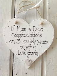 pearl anniversary personalised keepsake heart 30th anniversary gifts for couples husband wife him her