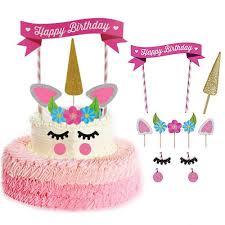 1 Set Cute Unicorn Bowknot Birthday Cake Topper Banner Decor Baby