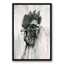 inky rooster black and white