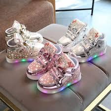 Toddler <b>Kids Luminous Sneakers</b> Baby Girl Leather Lighted Crib ...