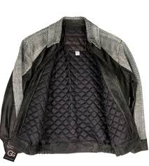 g gator men s er wash stone leather jacket python trim quilted lining 3xl for